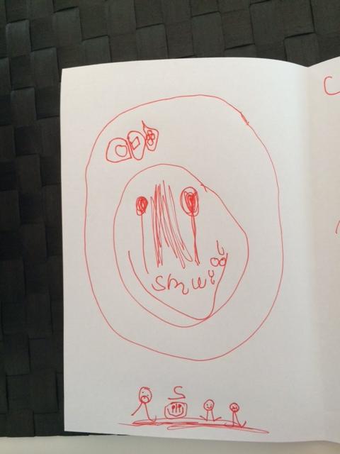 Cille's fødselsdagskort til Mille. Det er de 4 familiemedlemmer nederst og fødselsdagskage øverst