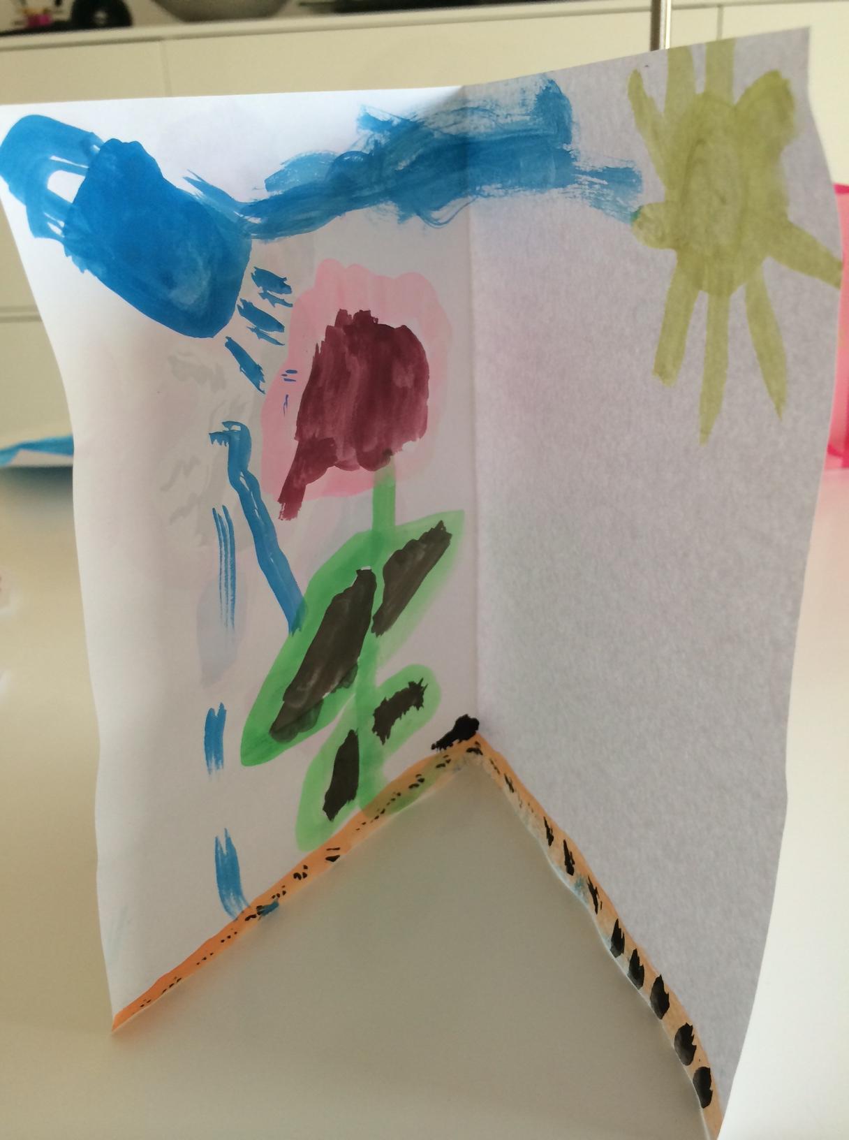 Cilles fødselsdagskort til mig - med blomster, der både need'er rain and sunshine, som hun siger